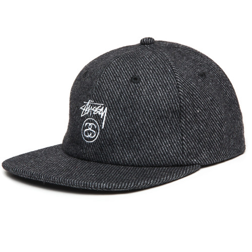 Бейсболка STUSSY Stock Lock Wool Strapback Cap (Charcoal, O/S) недорого