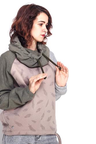 Толстовка MAZINE Eulo Batwing Hoody (Olive Melange/Taupe/Feathers, L)