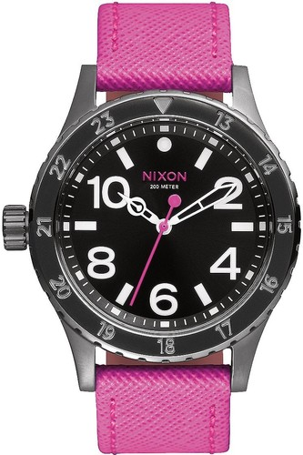 Часы NIXON 38-20 LEATHER (Black/Hot Pink)