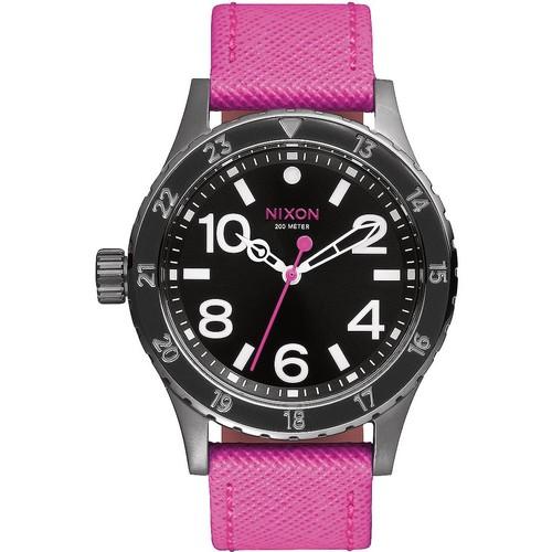 Часы NIXON 38-20 LEATHER (Black/Hot Pink) недорго, оригинальная цена