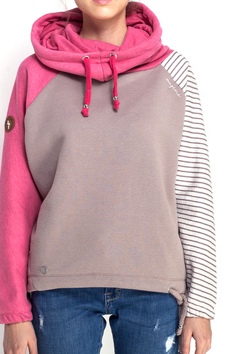 Толстовка MAZINE Tanbar Batwing Hoody женская (Rasberry Melange/Taupe/Stripes, L) толстовка mazine tacoma light batwing hoody женская grey melange berry melange m