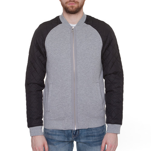 цена Куртка URBAN CLASSICS Diamond Nylon Sweatjacket (Grey/Black, S) онлайн в 2017 году