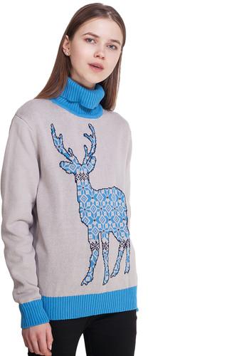 Свитер ЗАПОРОЖЕЦ Deer x Helga женский (Grey/Blue, M) свитер запорожец deer x helga grey blue xl