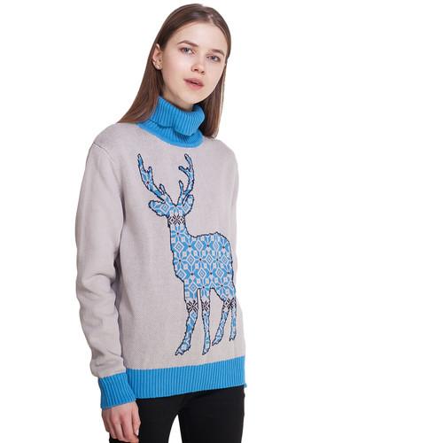 Свитер ЗАПОРОЖЕЦ Deer x Helga женский (Grey/Blue, S)