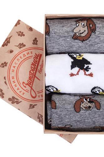 Носки ЗАПОРОЖЕЦ Комплект Простоквашино 9 (Белый/Серый/Серый Меланж-3 пары, O/S) цена