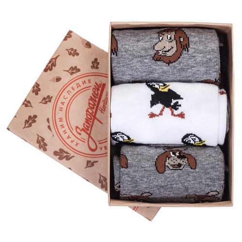 Носки ЗАПОРОЖЕЦ Комплект Простоквашино 9 (Белый/Серый/Серый Меланж-3 пары, O/S) цены онлайн