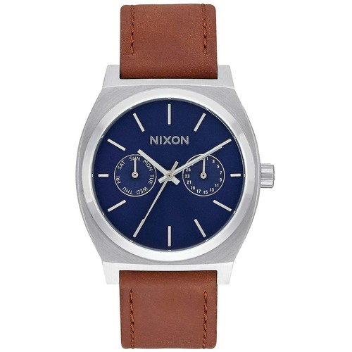 Часы NIXON TIME TELLER DELUXE LEATHER (NAVY SUNRAY/BROW) часы nixon sentry ss blue sunray
