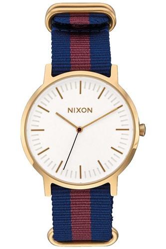 Часы NIXON PORTER NYLON (GOLD/WHITE/RED) кварцевые часы женские nixon bullet gold lavender