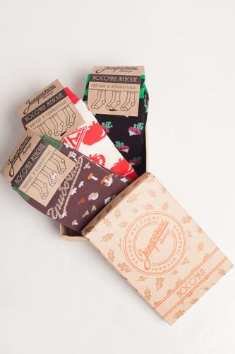 Носки ЗАПОРОЖЕЦ Комплект Овощной женский (Черный/Черный/Белый/Красный, O/S)