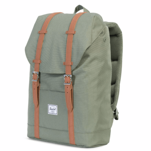 Рюкзак HERSCHEL RETREAT MID-VOLUME (Deep Lichen Green/Tan Synthetic Leather) все цены