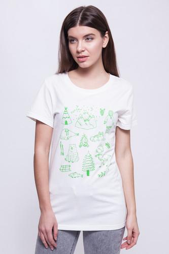 Футболка ТАЙГА Green Siberia женская (Белый, L) цена