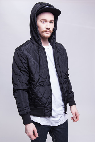 Куртка URBAN CLASSICS Hooded Big Diamond Quilt Jacket (Black, XL)
