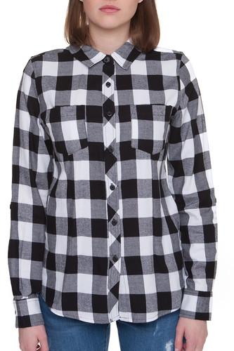 купить Рубашка URBAN CLASSICS Ladies Turnup Checked Flanell Shirt женская (Black/White, XL) по цене 1220 рублей