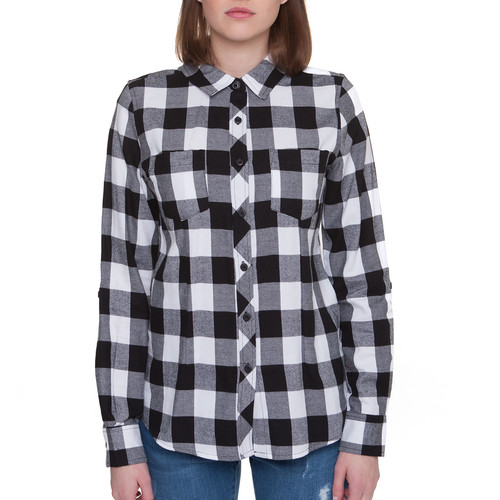 Рубашка URBAN CLASSICS Ladies Turnup Checked Flanell Shirt женская (Black/White, XL) рубашка brubeck nilit heat crimson xl женская