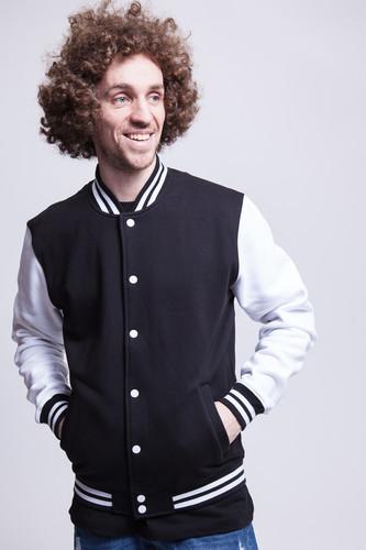 Толстовка URBAN CLASSICS 2-tone College Sweatjacket (Black/White, XL) толстовка urban classics ladies oversize 3 tone block hoody blk firered coolpink xl