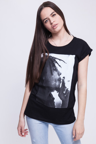 Футболка MISTER TEE Ladies Bob Marley Tee женская (Black, XL)
