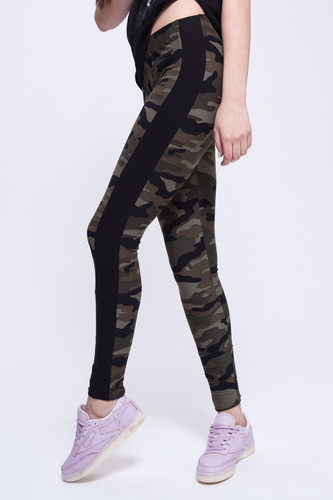 Леггинсы URBAN CLASSICS Ladies Camo Stripe Leggings (Wood Camo/Black, M) леггинсы urban classics ladies bandana leggings black white l