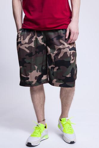 Шорты URBAN CLASSICS Camo Bball Mesh Shorts (Wood Camo, S)
