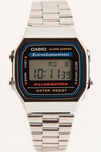 лучшая цена Часы CASIO A-168WA-Y3298 (Хром/Черный)