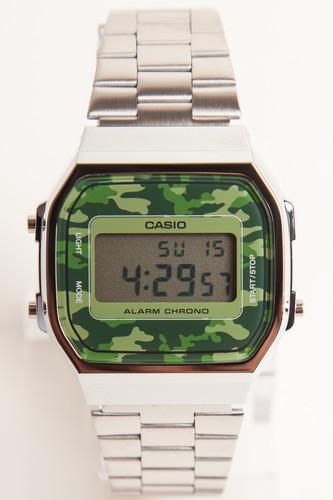 лучшая цена Часы CASIO A-168WEC-3E 3298 (Хром/Зеленый-3E)