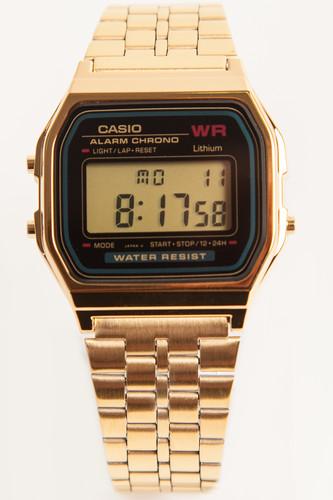 Часы CASIO A-159WGEA-1E 593 (Золотой/Черный-1E) цена и фото