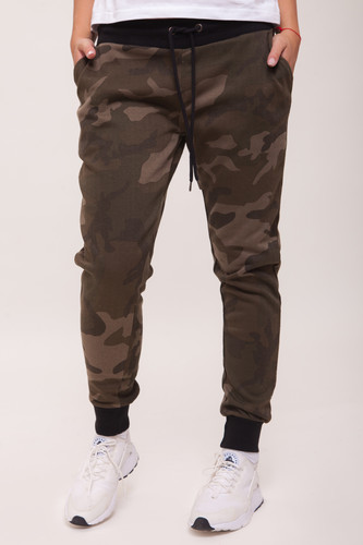 Брюки URBAN CLASSICS Ladies Camo Terry Pants женские (Olive Camo/Black, S)