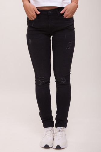 Джинсы URBAN CLASSICS Ladies Ripped Denim Pantst женские Black Washed фото 4