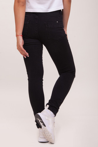 Джинсы URBAN CLASSICS Ladies Ripped Denim Pantst женские Black Washed фото 5