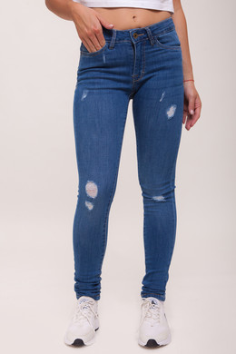 Джинсы URBAN CLASSICS Ladies Ripped Denim Pantst женские Blue Washed фото