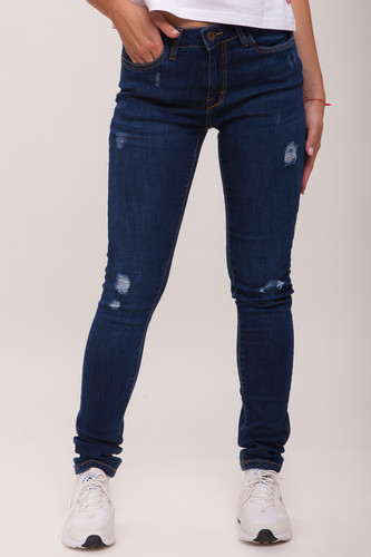 Джинсы URBAN CLASSICS Ladies Ripped Denim Pantst женские Dark Blue фото 4