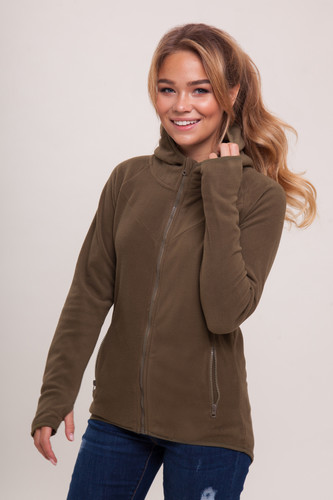 Толстовка URBAN CLASSICS Ladies Polar Fleece Zip Hoody женская (Olive, L)