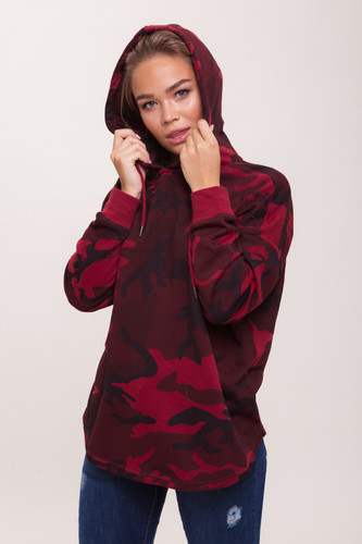 Толстовка URBAN CLASSICS Ladies Oversized Camo Hoody женская (Burgundy Camo, S) толстовка urban classics ladies oversize 3 tone block hoody blk firered coolpink xl