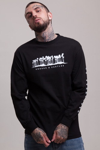 цена на Лонгслив CROOKS & CASTLES No Surrender L/S Crew Top (Black, S)