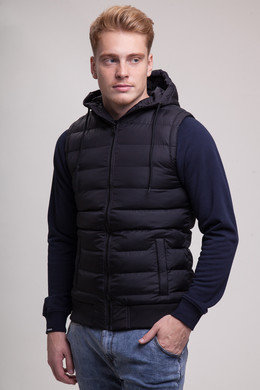 Жилет URBAN CLASSICS Small Bubble Hooded Vest Black/Black фото