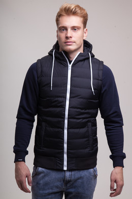 Жилет URBAN CLASSICS Small Bubble Hooded Vest Black/White фото