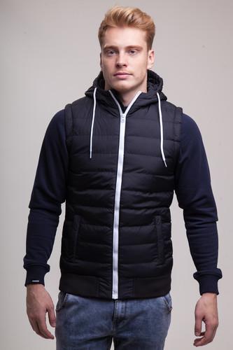 лучшая цена Жилет URBAN CLASSICS Small Bubble Hooded Vest (Black/White, S)