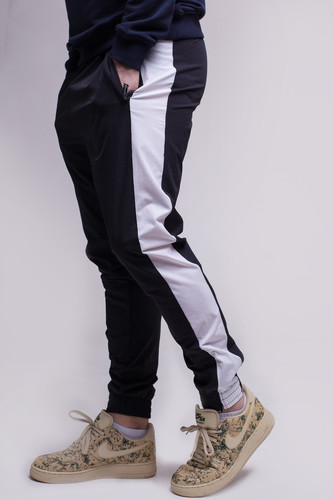 Брюки URBAN CLASSICS Retro Track Pants (Black/White, XL)